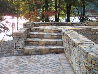 stone stairway, wall and walkway